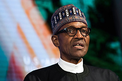 NEW YORK, NEW YORK - SEPTEMBER 21: President of Nigeria Muhammadu Buhari speaks at the U.S.-Africa Business Forum at the Plaza Hotel, September 21, 2016 in New York City. The forum is focused on trade and investment opportunities on the African continent for African heads of government and American business leaders. Photo by Drew Angerer/Pool/ABACAPRESS.COM