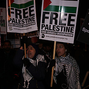 Hundreds Palestinian and UK National condemns President Trump's recognizing Jerusalem as Israel's capital, protestors stated Jerusalem is and always the capital of Palestine on 8th Dec 2017 outside US embassy, London, UK