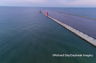 64795-03320 Aerial view of Grand Haven Lighthouse on Lake Michigan Grand Haven, MI
