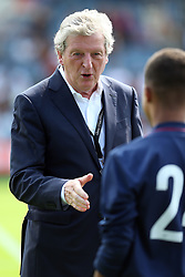2 September 2017 - Charity Football - Game 4 Grenfell - Roy Hodgson greets a young boy - Photo: Charlotte Wilson