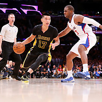 31 October 2014: Los Angeles Lakers guard Jeremy Lin (17) drives past Los Angeles Clippers guard Chris Paul (3) during the Los Angeles Clippers 118-111 victory over the Los Angeles Lakers, at the Staples Center, Los Angeles, California, USA.
