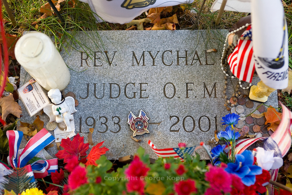 Grave of NYC Fire Department Chaplain Rev. Mychal Judge who perished in the 9/11/01 attack on the World Trade Center.