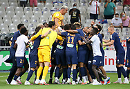 Goalkeeper of PSG Keylor Navas and teammates celebrate the victory after winning the penalty shootout during the French League Cup (Coupe de la Ligue) final match between Paris Saint-Germain (PSG) and Olympique Lyonnais (OL, Lyon) on July 31, 2020 at the Stade de France, in Saint-Denis, near Paris, France - Photo Juan Soliz / ProSportsImages / DPPI