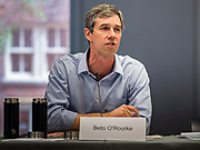 06 MAY 2019 - DES MOINES, IOWA: BETO O'ROURKE, a Texas Democrat, leads a roundtable discussion about climate change in Des Moines Monday. O'Rouke is campaigning in Iowa to support his candidacy to be the Democratic nominee for the US Presidency in 2020.  Iowa traditionally hosts the the first election event of the presidential election cycle. The Iowa Caucuses will be on Feb. 3, 2020.              PHOTO BY JACK KURTZ