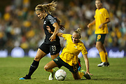 Rosie White and Tameka Butt contest for the ball during the Cup of Nations Women's Football match, New Zealand Football Ferns v Matildas, Leichhardt Oval, Thursday 28th Feb 2019. Copyright Photo: David Neilson / www.photosport.nz