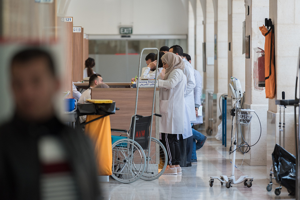 24 February 2020, Jerusalem: Nurses and other hospital staff at work at the Augusta Victoria Hospital.