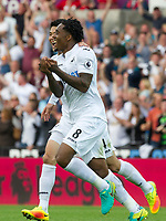 Football — 2016 / 2017 Premier League - Swansea vs Chelsea<br /> <br /> Leroy Fer of Swansea City celebrates scoring his team's second goal at the Liberty Stadium.<br /> <br /> pic colorsport/winston bynorth