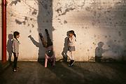 Ghent, Belgium, 16 feb 2017, Children playing at the schoolyard of De Harp