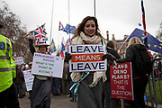 Leave means leave pro Brexit anti Europe demonstrators protest waving Union Jack flags in Westminster opposite Parliament on the day MPs vote on EU withdrawal deal amendments on 29th January 2019 in London, England, United Kingdom.