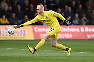 Portsmouth goalkeeper Aaron McCarey in action. Skybet football league two match, Newport county v Portsmouth at Rodney Parade in Newport, South Wales  on Saturday 17th October 2015.<br /> pic by  Andrew Orchard, Andrew Orchard sports photography.