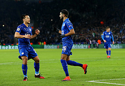 Riyad Mahrez of Leicester City  celebrates with Shinji Okazaki after scoring his sides second goal   - Mandatory by-line: Matt McNulty/JMP - 22/11/2016 - FOOTBALL - King Power Stadium - Leicester, England - Leicester City v Club Brugge - UEFA Champions League