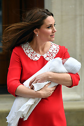 The Duchess of Cambridge and her newborn son outside the Lindo Wing at St Mary's Hospital in Paddington, London.