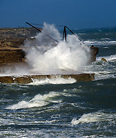 People risking their lives taking selfies and standing on the rocks that massive waves, caused by Storm Francis, are breaking on ,Portland Bill the Isle of Portland, Dorset. Gusts have reached almost  80mph during the storm. Photo by Michael Palmer.