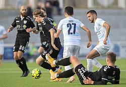 Sebastian Sommer (Kolding IF) med bolden under kampen i 1. Division mellem FC Helsingør og Kolding IF den 24. oktober 2020 på Helsingør Stadion (Foto: Claus Birch).