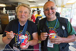 Sante Mazza and Claudia Ganzaroli at a Dairy Queen hosted stop (not the gelato they are used to but they seemed to enjoy it!) during Stage 3 of the Motorcycle Cannonball Cross-Country Endurance Run, which on this day ran from Columbus, GA to Chatanooga, TN., USA. Sunday, September 7, 2014.  Photography ©2014 Michael Lichter.