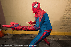 Spider Man does Main Street on the first Saturday night during Daytona Bike Week. Saturday, March 7, 2015.  Photography ©2015 Michael Lichter.