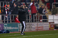 Rotherham United scores a goal and Rotherham United Manager Neil Warnock celebrates to make the score  1-0 during the Sky Bet Championship match between Rotherham United and Middlesbrough at the New York Stadium, Rotherham, England on 8 March 2016. Photo by Simon Davies.