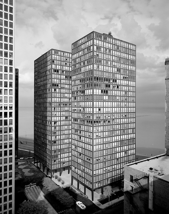 860-880 N. Lake Shore Drive Apratments, Chicago, Illinois; designed by Meis Van Der Rohe, architect.