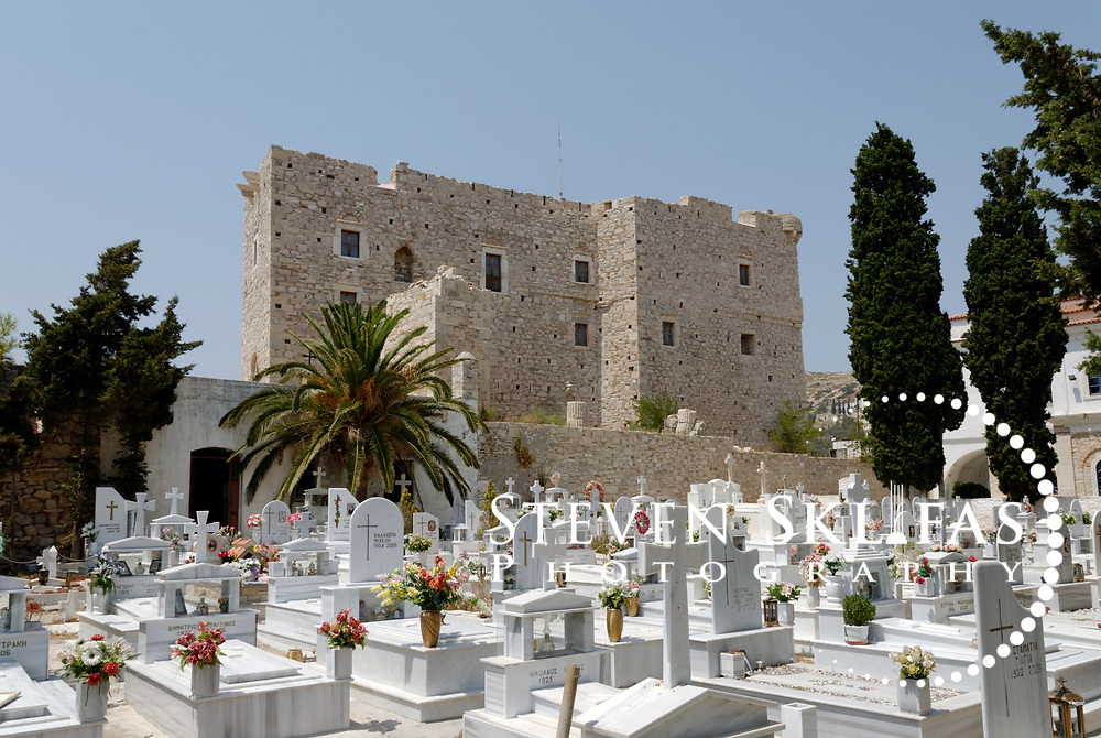 Samos. Greece. The Church of Metamorfosis cemetery and the Byzantine castle Kastro at the town of Pythagoreio. The Byzantine castle was reinforced with new buildings in order to serve the Struggle for independence. It is named after Lykourgos Logothetis, the local chieftain who organised a decisive naval victory over the Turks on August 6 1824. The town's cemetery is beside the Kastro as is the church of Metamorfosis, built to celebrate the victory. Also in the Kastro grounds are ruins of two opulent villas of the Hellenistic period (2nd BC), Roman galleries and the remains of a 5th century Christian Basilica.  Pythagorio is a UNESCO Cultural World Heritage Site and is named after the great philosopher Pythaogaras who was born here in 580 BC.