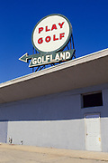 """""""Play Golf"""" sign for Golfland above building in Asbury Park, New Jersey"""