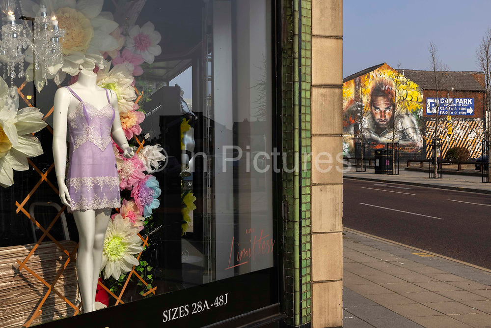 Lingerie shop in empty town centre on 21st April 2021 in Blackpool, Lancashire, United Kingdom. Blackpool is a large town and seaside resort in the county of Lancashire on the north west coast of England. Blackpool was once a booming resort with it's famous promenade which now, despite having a somewhat shabby appearance, still continues to attract millions of visitors each year. During the coronavirus pandemic however, Blackpool has struggled, with empty streets and closed down businesses creating an atmosphere more like a ghost town.