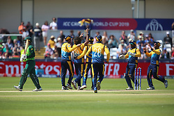 June 28, 2019 - Chester Le Street, County Durham, United Kingdom - Sri Lanka's Lasith Malinga celebrates with his team mates after bowling South Africa's Quinton de Kock during the ICC Cricket World Cup 2019 match between Sri Lanka and South Africa at Emirates Riverside, Chester le Street on Friday 28th June 2019. (Credit Image: © Mi News/NurPhoto via ZUMA Press)