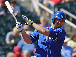 March 7, 2017 - Goodyear, AZ, USA - The Kansas City Royals' Mike Moustakas during spring training action against the Cincinnati Reds at Goodyear Ballpark in Goodyear, Ariz., on Tuesday, March 7, 2017. The Reds won, 7-3. (Credit Image: © John Sleezer/TNS via ZUMA Wire)