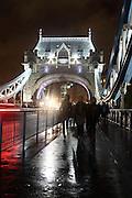 Light trails on Tower Bridge, London