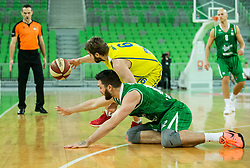 Darko Sokolov of Karpos Sokoli vs Nikola Jankovic #12 of KK Union Olimpija during basketball match between KK Union Olimpija and KK Karpos Sokoli in Round #20 of ABA League 2016/17, on January 29, 2017 in Arena Stozice, Ljubljana, Slovenia. Photo by Vid Ponikvar / Sportida