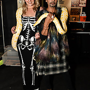 Larissa Eddie and Mr Fabulous - Jay Kamiraz holding a snake at BBC1 All Together Now Series 1 Cast Members, fright night at The London Bridge Experience & London Tombs on 28 October 2018, London, UK.