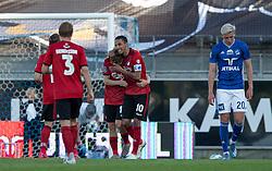 Målscorer Pep Biel (FC København) tiljubles af Carlos Zeca efter scoringen til 1-3 under kampen i 3F Superligaen mellem Lyngby Boldklub og FC København den 1. juni 2020 på Lyngby Stadion (Foto: Claus Birch).