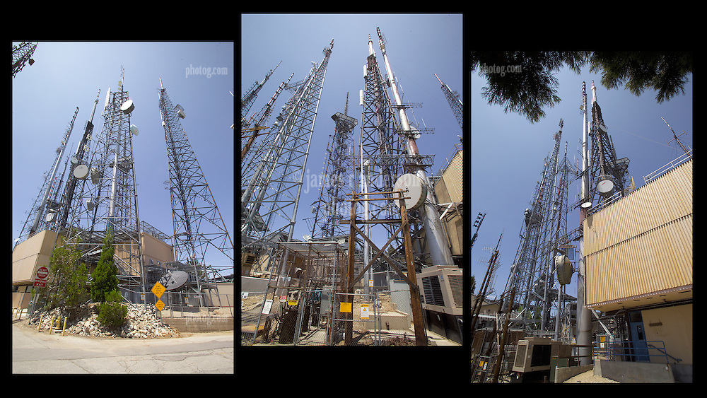 TV and Communications Towers at Mount Wilson CA in the Angeles National Forest. Composite of 3 Images. In one view, Mount Wilson Post Office. Any single image is also available.