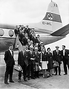 Irish athletes and officials depart for the Rome Olympics.  In the front row is Maeve Kyle, a noted track athlete who also gained 58 caps for Ireland in hockey.  .24.08.1960