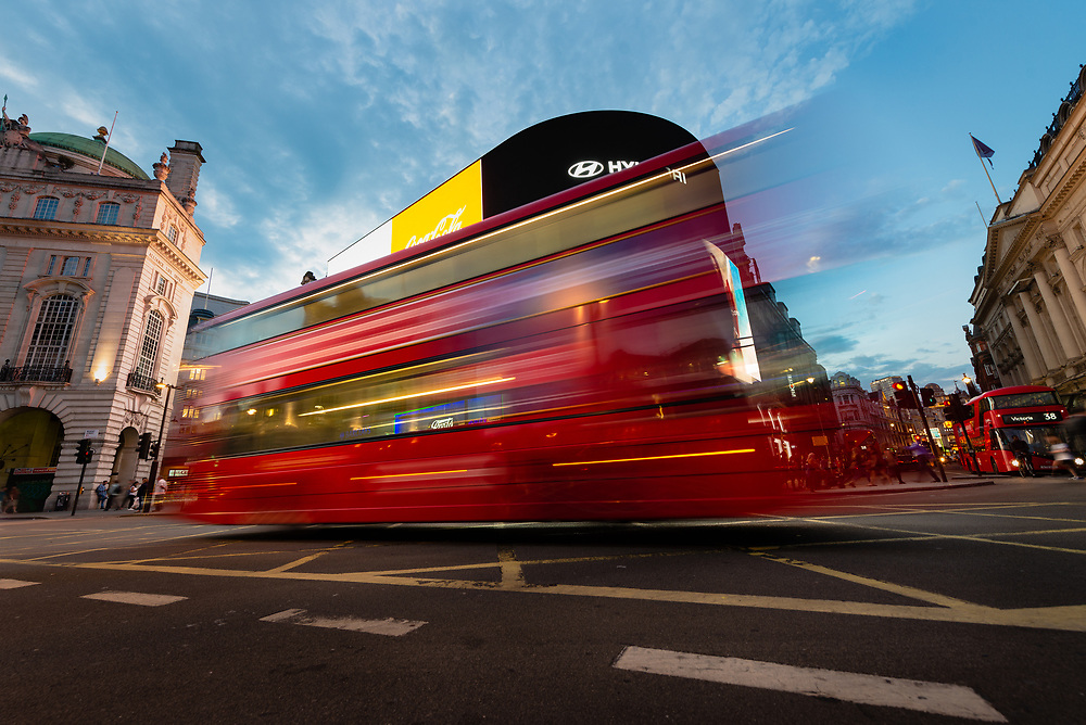 London bus in Picadilly Circus at night