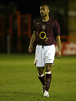 Photo: Chris Ratcliffe.<br /> Arsenal Reserves v Tottenham Hotspurs Reserves. 27/02/2006. <br /> Ashley Cole is gutted as he is injured again less than five minutes into his return for Arsenal reserves