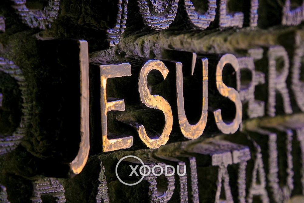 Jesus lettering pattern texture, Barcelona, Spain (December 2006)