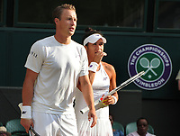 Tennis - 2017 Wimbledon Championships - Week Two, Thursday [Day Ten]<br /> <br /> Mixed Doubles, Semi Final match<br /> <br /> Rohar Bopanna (IND) and Gabriela Dabrowski (CAN) vs. Henri Kontinen (FIN) and Heather Watson (GBR)<br /> <br /> Henri Kontinen and Heather Watson on  Centre Court <br /> <br /> COLORSPORT/ANDREW COWIE