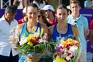 Tatjana Maria (GER) and Anastasija Sevastova (LAT) during the victory ceremony at the Mallorca Open at Country Club Santa Ponsa on June 24, 2018 in Mallorca, Spain. Photo Credit: Katja Boll/EVENTMEDIA.