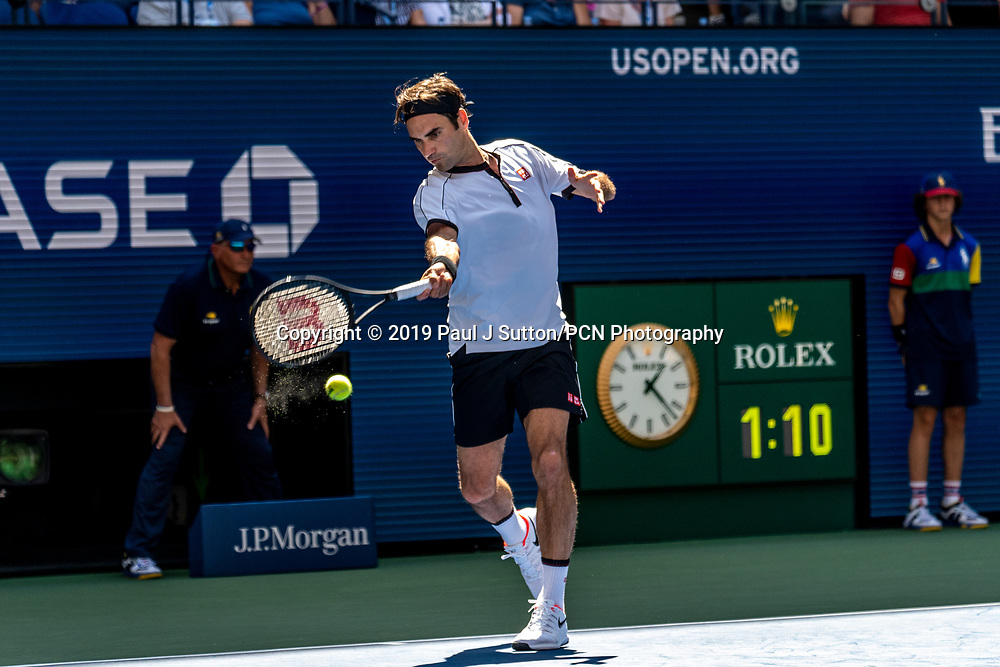 Roger Federer of  Switzerland competing in the third round of the 2019 US Open Tennis
