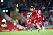 Liverpool women forward Courtney Sweetman-Kirk (9) shoots during the FA Women's Super League match between Liverpool Women and Everton Women at Anfield, Liverpool, England on 17 November 2019.