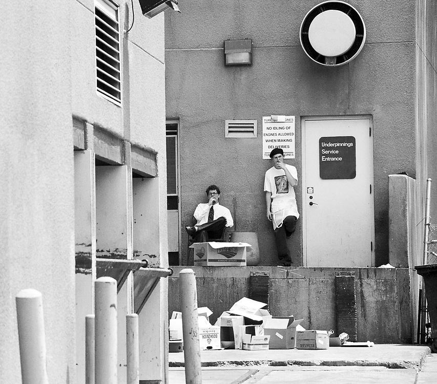 Workers take a smoke break in Santa Fe, circa 2003.