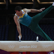 Joshua Jefferis, Australia, in action during the Men's Artistic Gymnastics podium training at North Greenwich Arena during the London 2012 Olympic games preparation at the London Olympics. London, UK. 25th July 2012. Photo Tim Clayton