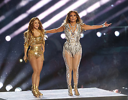 February 2, 2020, Miami, FL, USA: MIAMI, FLORIDA - FEBRUARY 02: (L-R) Shakira and Jennifer Lopez perform onstage during the Pepsi Super Bowl LIV Halftime Show at Hard Rock Stadium on February 02, 2020 in Miami, Florida. Photo: Christopher Victorio/imageSPACE (Credit Image: © Imagespace via ZUMA Wire)