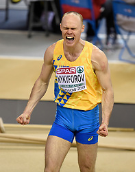 Ukraine's Serhii Nykyforov shouts out in frustration after his final jump in the Men's Triple Jump final during day three of the European Indoor Athletics Championships at the Emirates Arena, Glasgow.