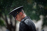 Cadet Christopher Dennis is rained on outside McAlister Field House during Challenge Week at The Citadel in Charleston, South Carolina on Saturday, August 16, 2021.<br /> <br /> Credit: Cameron Pollack / The Citadel