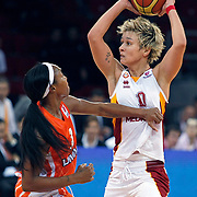 Galatasaray's Isil ALBEN (R) during their Euroleague woman Group A basketball match Galatasaray between UMMC Ekaterinburg at the Abdi Ipekci in Istanbul at Turkey on wednesday,October, 26, 2010. Photo by TURKPIX