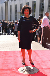 © Licensed to London News Pictures. 18/09/2019. London, UK. Welsh singer Dame Shirley Bassey unveils her bronze handprints in the Square of Fame at SSE Wembley. The star first performed at the venue 60 years ago in a performance that inaugurated the Empire Pool, Wembley (as it was known then), as a music and entertainment venue, and began its reputation as one of the world's most iconic concert venues. The unveiling marks 60 momentous years of The SSE Arena, Wembley in Wembley Park, North West London's world-famous, dynamic cultural neighbourhood. Photo credit: Ray Tang/LNP
