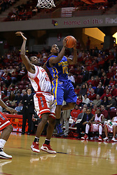 06 December 2008: Robert Murry takes the ball up and past Dinma Odiakosa during a game where the  Illinois State University Redbirds extended their record to 9-0 with a 76-70 win over the Eagles of Morehead State on Doug Collins Court inside Redbird Arena on the campus of Illinois State University in Normal Illinois
