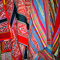 South America, Peru, Pisaq. Textiles of the Andean people.