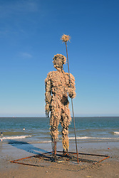 Pakefield Man, First Light Festival, Lowestoft Suffolk 22 June 2019. 24 hour festival across the summer solstice weekend held on the beach at Britain's most easterly point. To be burnt at 2am the following morning. UK